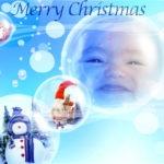 Montaje con burbujas de feliz navidad