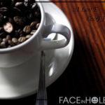 Montaje entre granos de café tostado