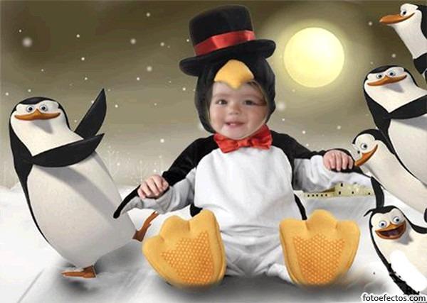 fotomontaje gratis en disfraz de un pinguino