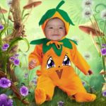 Fotomontaje infantil en disfraz de calabaza