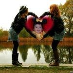 Fotomontaje de corazón formado con manos