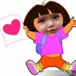 Fotomontaje gratis en el rostro de Dora la Exploradora
