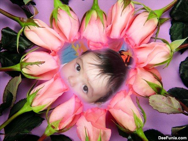 fotomontaje en corazón de rosas