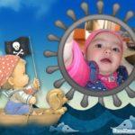 Fotomontaje infantil con un bebe pirata