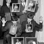 Fotomontaje con los Beatles en blanco y negro