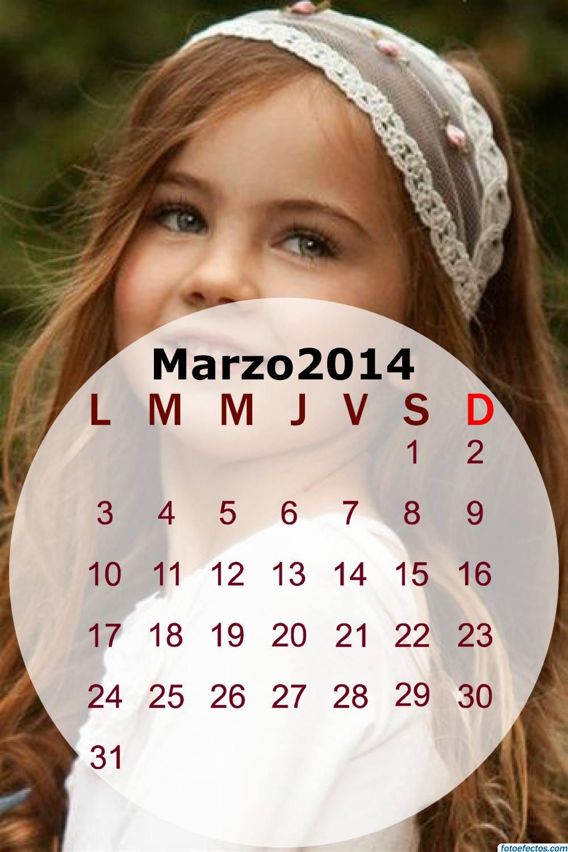 Calendario mensual del mes de marzo 2014
