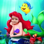 Fotomontaje infantil en el rostro de Ariel