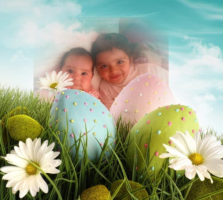 Fotomontaje con huevos de pascua