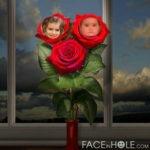 Fotomontaje gratis en un ramo de rosas