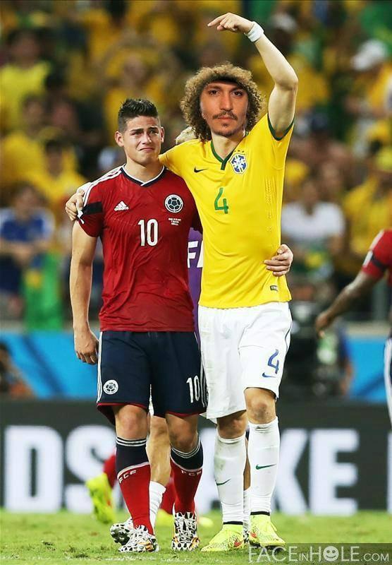 Fotomontaje en el rostro de David Luiz junto a James Rodríguez