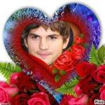 Fotomontaje de amor en un corazón con flores