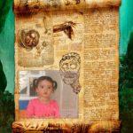 Fotomontaje gratis en un pergamino misterioso lleno de gravados