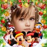 Fotomontaje de navidad con mickey y sus amigos