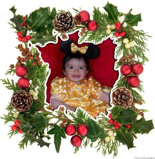 Fotomontaje con adorno navideño
