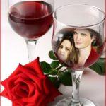 Fotomontaje de amor gratis en copa de vino