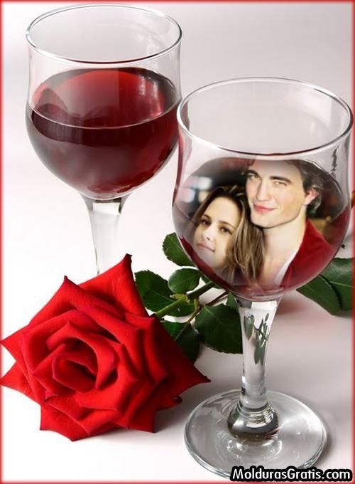 Fotomontaje de amor en una copa