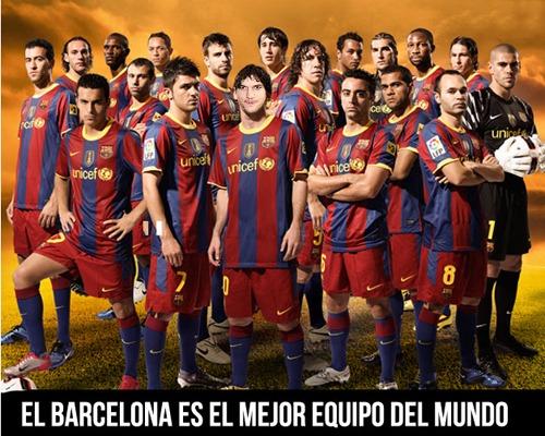 Fotomontaje en el rostro de uno de los jugadores de la selección del equipo de barcelona