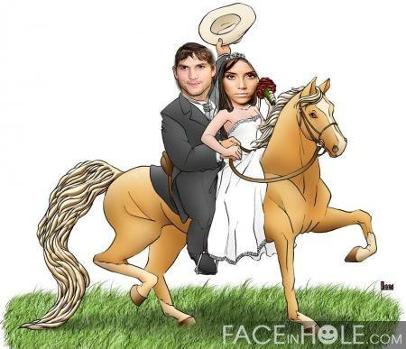 Fotomontaje de novios en caballo