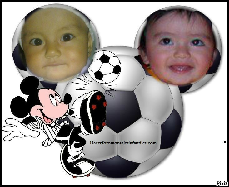 Fotomontaje de fútbol con mickey mouse