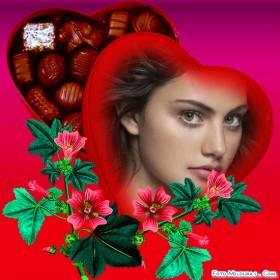 Romantico fotomontajes con caja de bombones