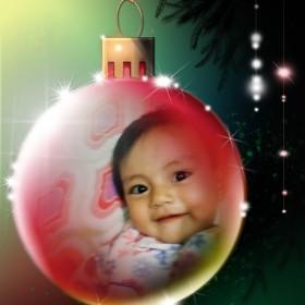 Divertido fotomontaje online en adorno navideño