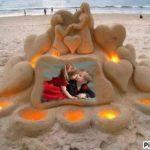 Un romántico fotomontaje para tus fotos, diseñado en arena