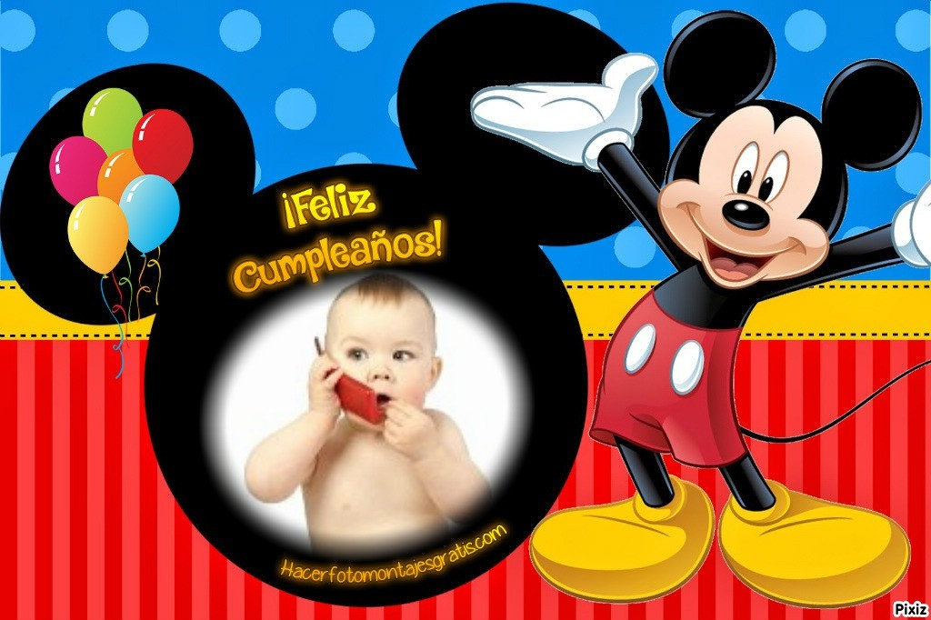 Feliz cumpleaños con mickey mouse