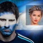 Fotomontaje en la bandera de argentina con lionel messi