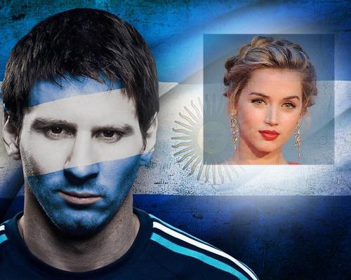 Fotomontaje en la bandera de argentina y Lionel Messi