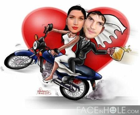 Fotomontaje de amor en una moto