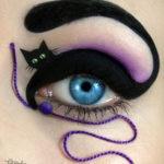 Maquillaje para Halloween Ojos pintados con lienzo