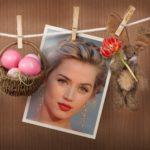 Marco de fotos con conejo y huevos de pascua