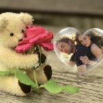 Fotomontaje  romántico con un hermoso osito con una rosa